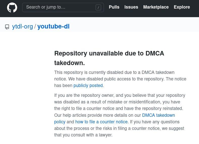 youtube-dl removed from GitHub